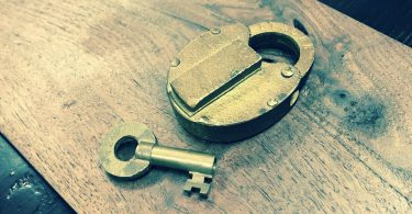 lock and key on table
