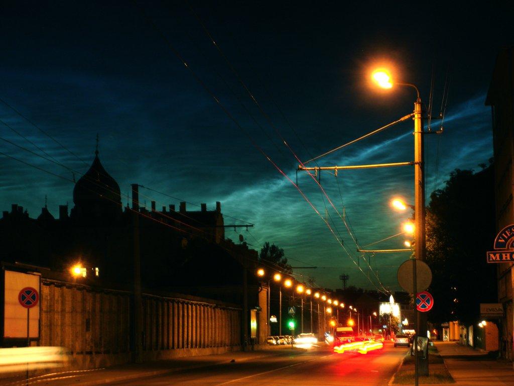Summer night sky over city