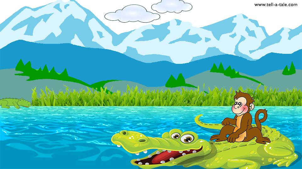 Monkey and crocodile in river panchatantra