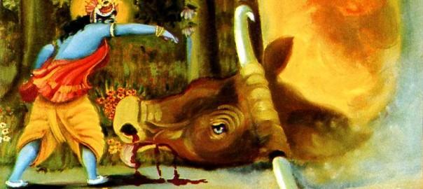 Lord Krishna killing the demon bull arishtasura