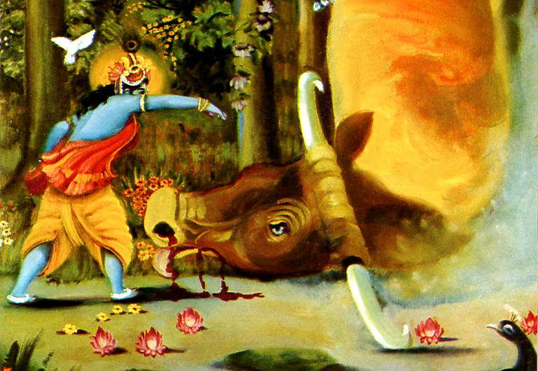 Lord Krishna killing the demon bull arishtasura