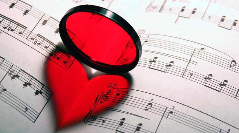 love heart on a music sheet