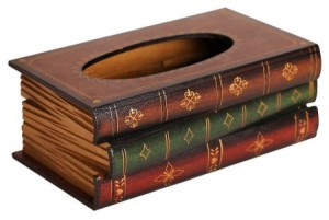 vintage book tissue holder box
