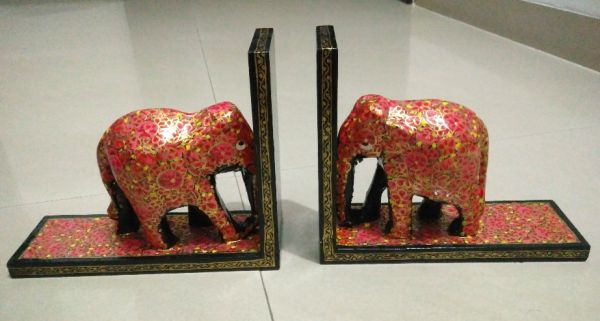 kashmiri hand painted elephant book ends