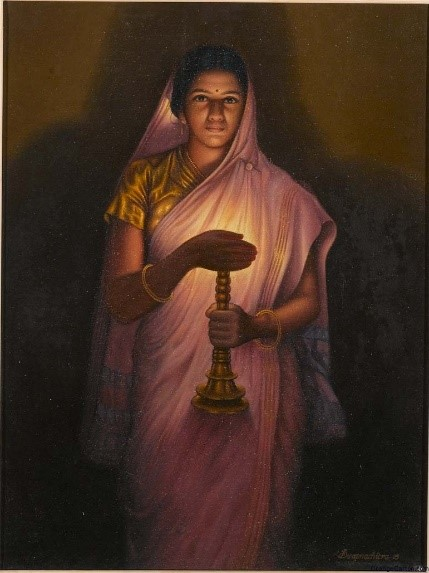 lady with the lamp by raja ravi varma