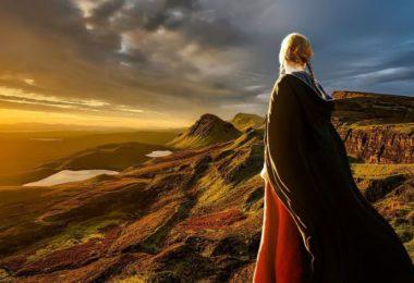 sunset girl on mountains